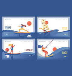 Set with four various banners or landing page vector