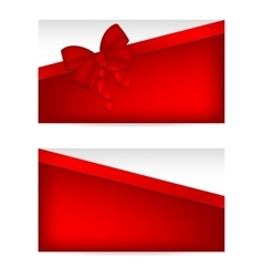 Silver gift cards with red ribbons vector image