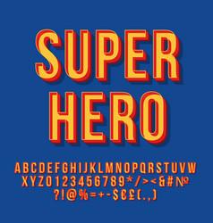 super hero vintage 3d lettering vector image