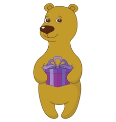 Teddy bear with gift box vector image