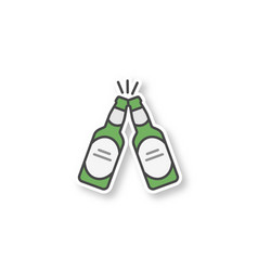 toasting beer bottles patch vector image