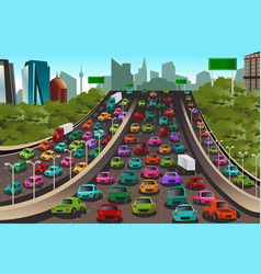 traffic on a highway vector image