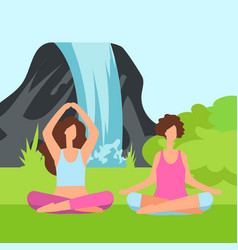 two meditation women on the nature with green bush vector image