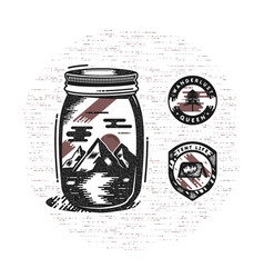 Vintage hand drawn camping badges and patches vector