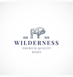 Wilderness buffalo abstract sign symbol or vector