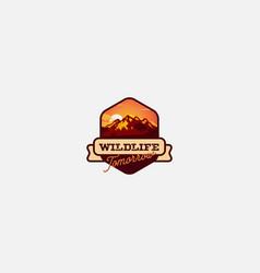 wildlife outdoor emblem badge logo mountain logo vector image