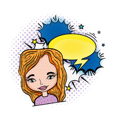 woman pop art with speech bubble character vector image