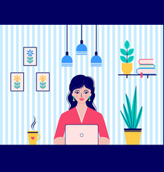 woman works at home vector image