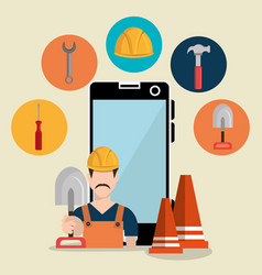 Worker under construction with smartphone vector