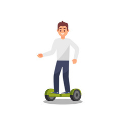 young man riding gyroscope healthy and active vector image