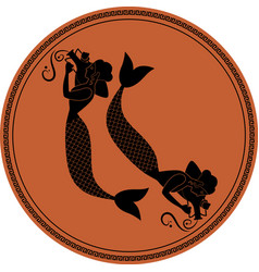 Zodiac in style ancient greece pisces two vector