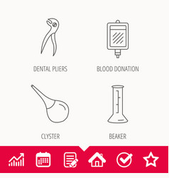 beaker blood and dental pliers icons vector image