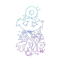 doodle lettering Sea Trip vector image