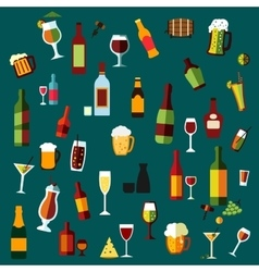 Flat alcohol beverages and cocktails vector image