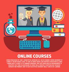 flat online courses graduates concept vector image