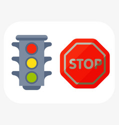 traffic lights isolated on white background and vector image