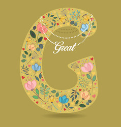 Yellow letter g with floral decor and necklace vector