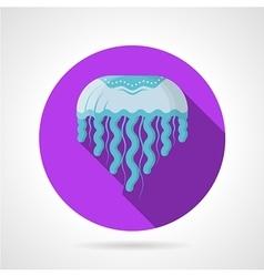 Blue jellyfish flat round icon vector image