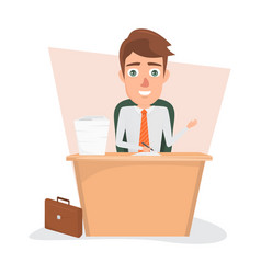 Business man writting on document paper at office vector