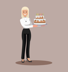 Business woman with a cake at work flat design vector