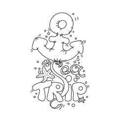 Cartoon doodle lettering Sea Trip vector image vector image