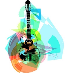 colorful guitar vector image