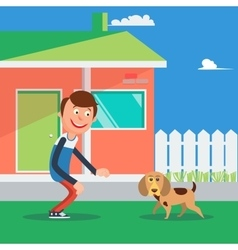 Happy Boy Playing with Dog Kid and Puppy vector image