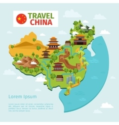 China travel map with traditional Chinese vector image vector image