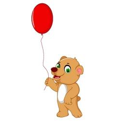 cute bear cartoon holding a red balloon vector image vector image