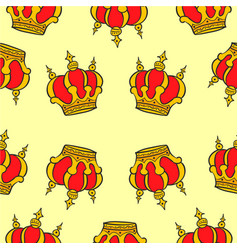 Elegant red crown of doodle collection vector