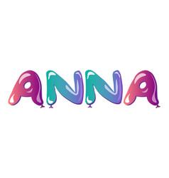 female name anna text balloons vector image