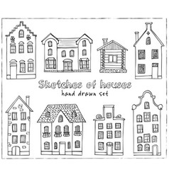 set of hand drawn buildings vector image