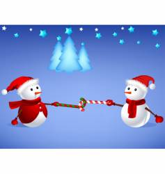 Snowman with X'mas cane vector image vector image