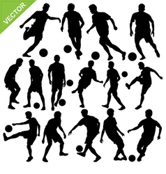 Soccer players silhouettes vector image vector image