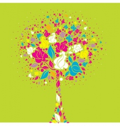 tree symbol from colorful flowers vector image