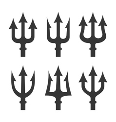 Trident Silhouette Set on White Background vector image vector image