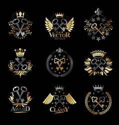 ancient keys emblems set heraldic coat of arms vector image