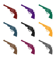 revolver icon in black style isolated on white vector image