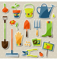 Set of garden sticker design elements and icons vector image vector image