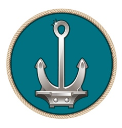 silver anchor on the blue background vector image