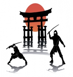 two ninjas battling vector image