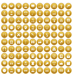 100 conference icons set gold vector image