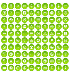 100 road signs icons set green circle vector