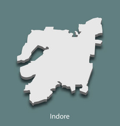3d isometric map of indore is a city of india vector