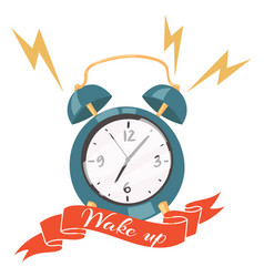 alarm clock ringing banner vector image