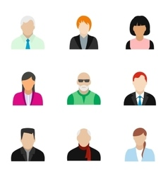Avatar people icons set flat style vector image
