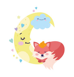 bashower cute fox sleeping cloud moon cartoon vector image