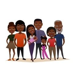 Big happy black family cartoon concept vector
