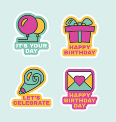 Birthday labels isolated comic stickers set flat vector