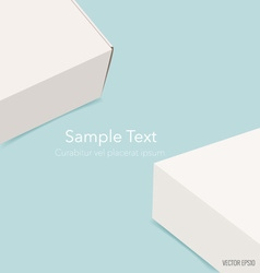 Blank white box mock up on blue background vector